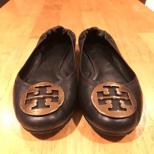 Must Go! Black and Gold Tory Burch Reva Flats
